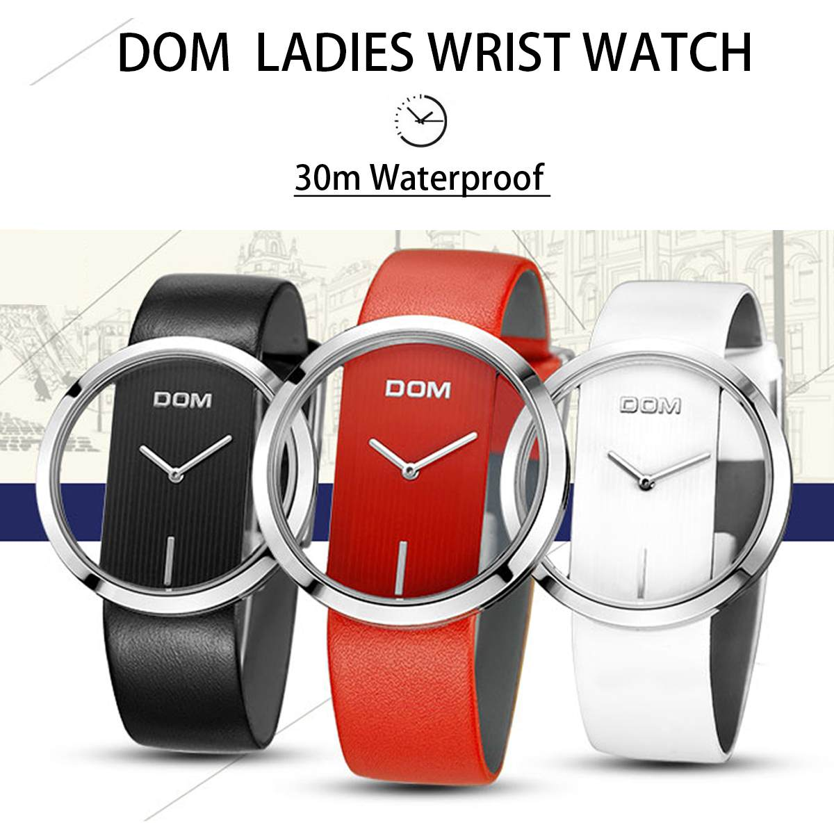 DOM Watch Women Waterproof Luxury Fashion Casual Quartz Watches Leather Sport Lady Elegant Wrist Watch For Girl Women Gift
