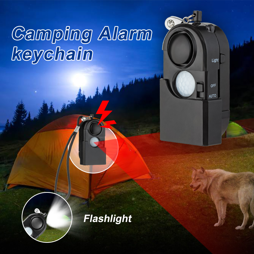 Camping Travel PIR Infrared Motion Sensor Detector Alarm SOS Portable Mini 120dB Security Anti Theft Anti Pervert Flashlight