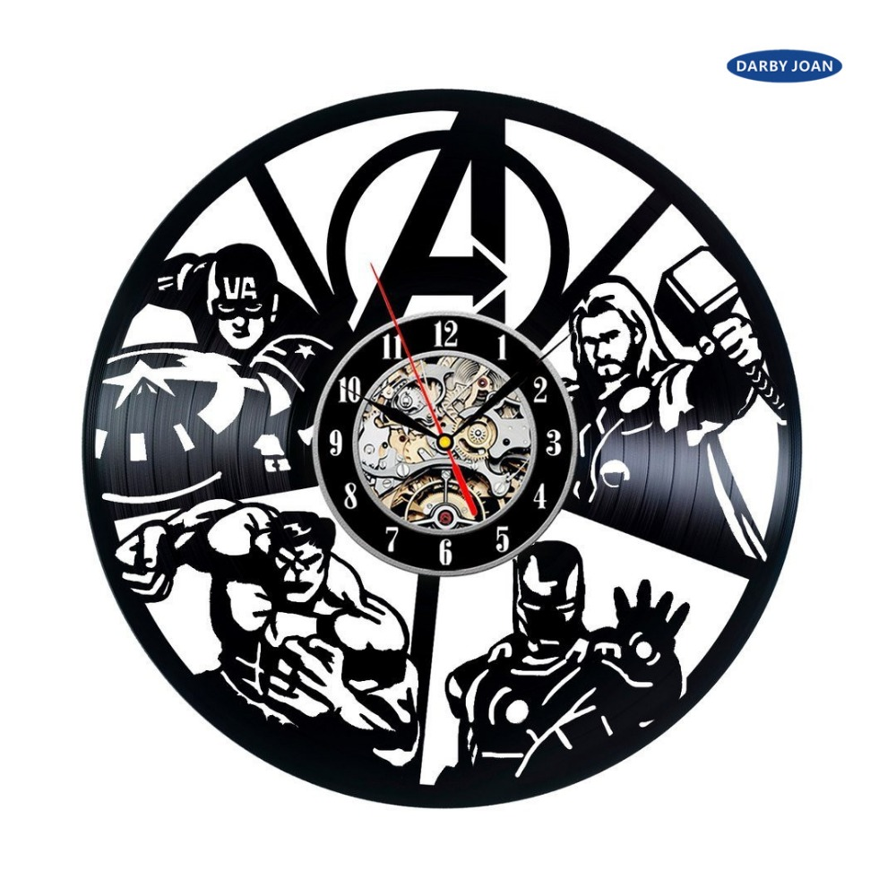 2017 fresh design cd vinyl disc modern wall clock avengers floral 2017 fresh design cd vinyl disc modern wall clock avengers floral art classic watch clock relogio parede in wall clocks from home garden on aliexpress amipublicfo Images