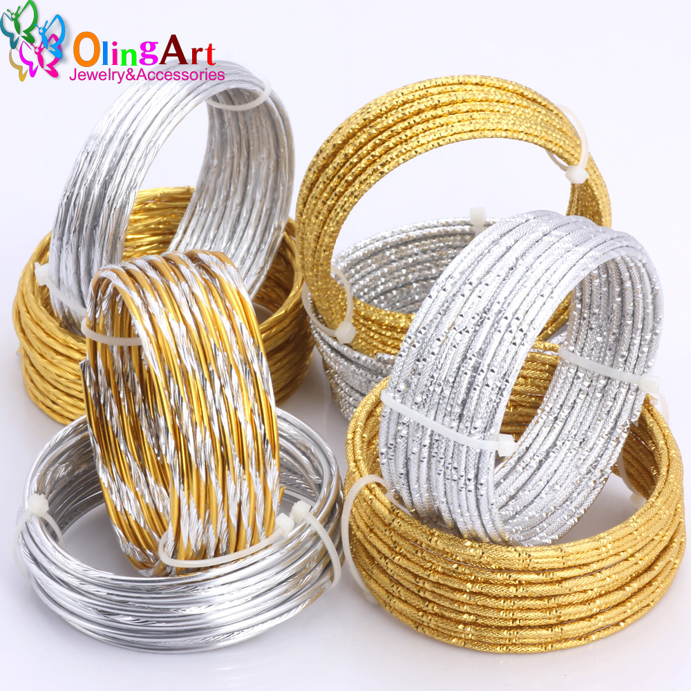 OLINGART 1M/lot 2.0mm Various Patterns Aluminum Wire Gold/silver Soft Craft Versatile New Metal Wire DIY Handmade Jewelry Making