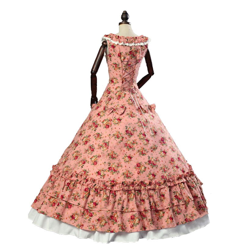 18th Century Retro Gothic Victorian Party Dresses Summer Floral ...