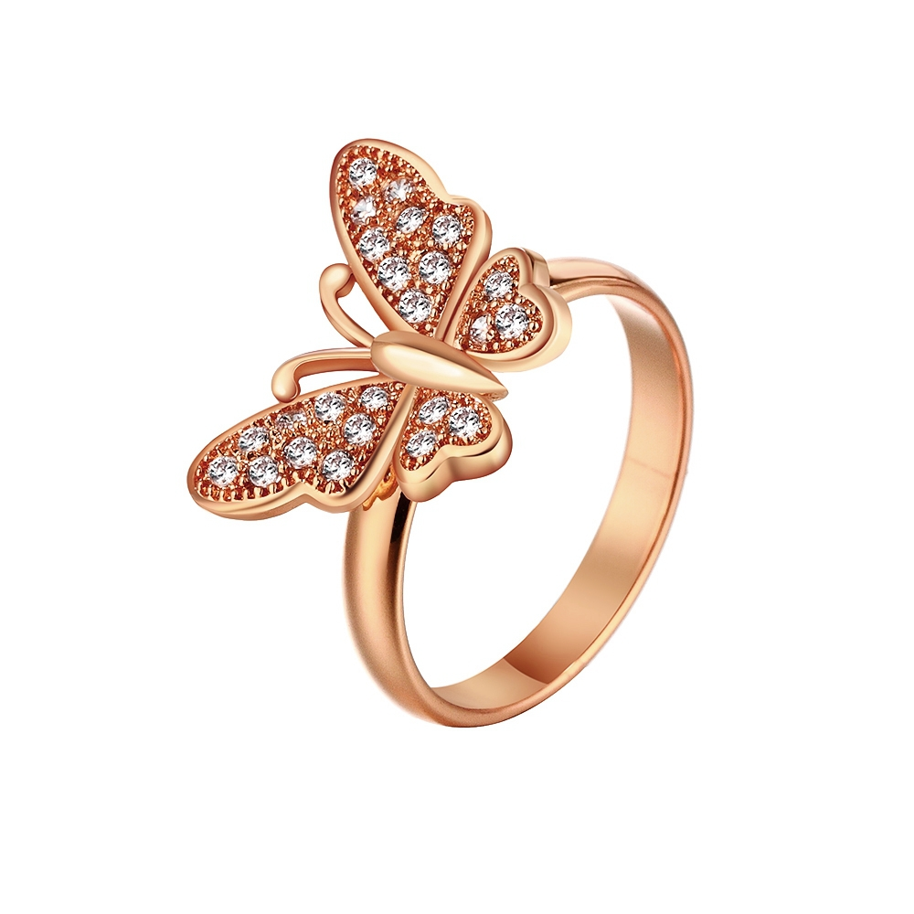 18k Gold Plated Ring Butterfly Rings for Women Imitation Diamond ...