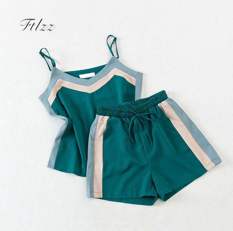 New Summer Tracksuit Women Sexy Tank Crop Tops + Shorts Suits Fashion Womens Casual 2 Piece Sets Girls Sportsuit Clothes