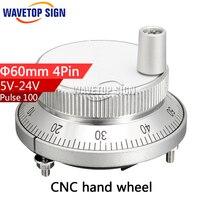 CNC Electronic Hand Wheel Diameter 60m 5v 4 Pin Hand Wheel Lathe Accessories Systems MPG Handwheel
