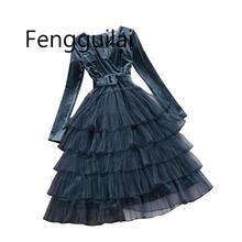 все цены на 2019 autumn winter new women V-neck velvet stitching mesh layer ball gown dress female long sleeve waist ruffles tiered dresses онлайн