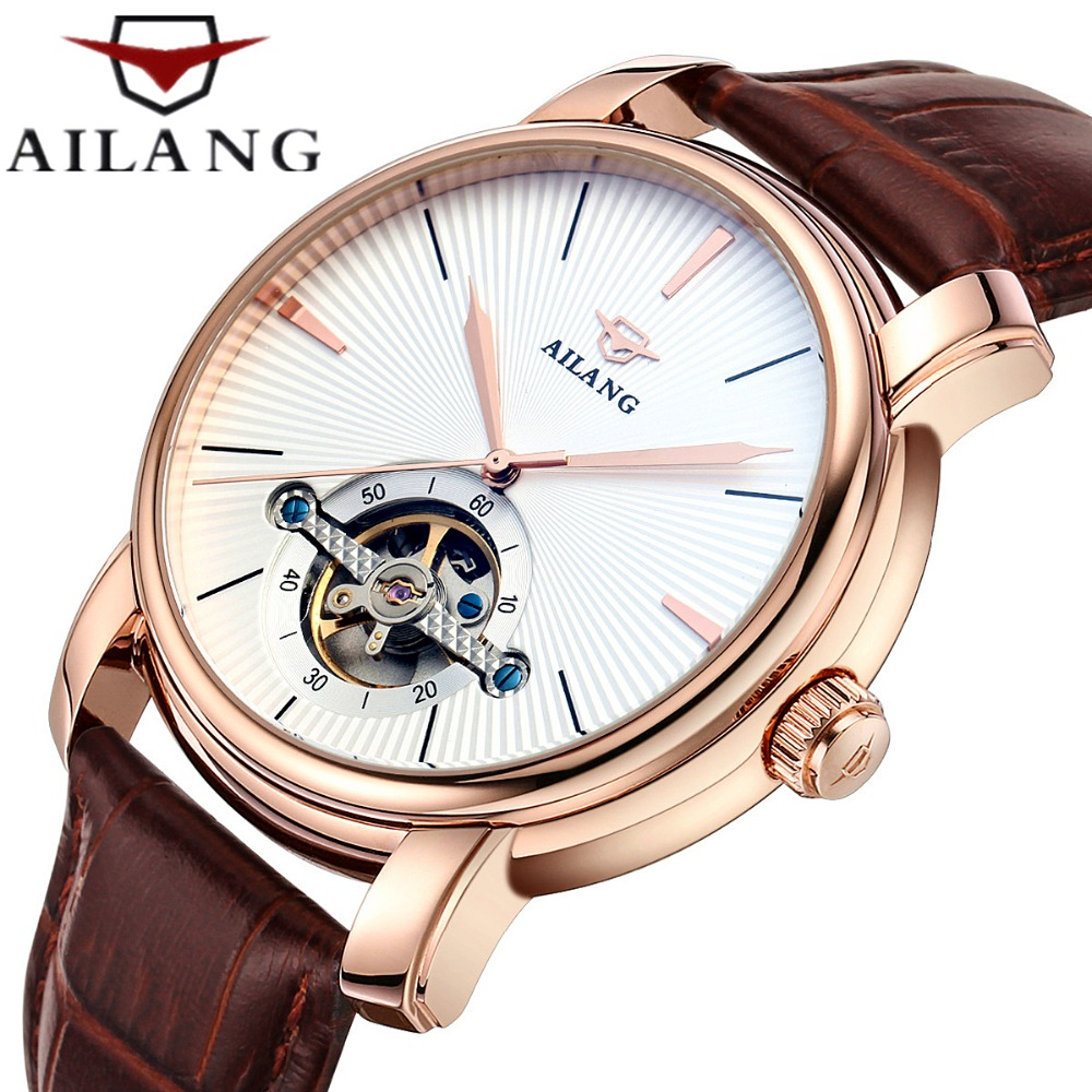 AILANG Skeleton Tourbillon Watch Men gold watch Business Wrist watch Mens gift Automatic Mechanical Watch Relogio Masculino unique smooth case pocket watch mechanical automatic watches with pendant chain necklace men women gift relogio de bolso