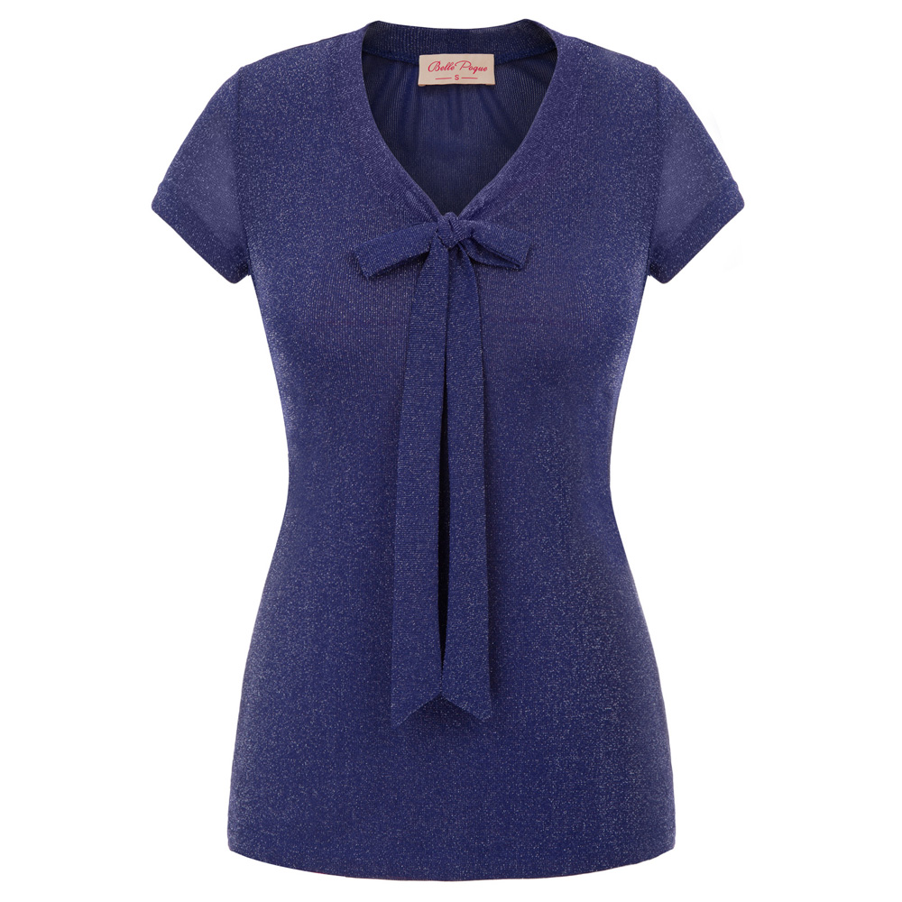new Womens Ladies OL office work elegant t shirt V-neck tshirt Silver Sparkle Bow Knot Tops Stretch Cap Sleeve T-Shirts