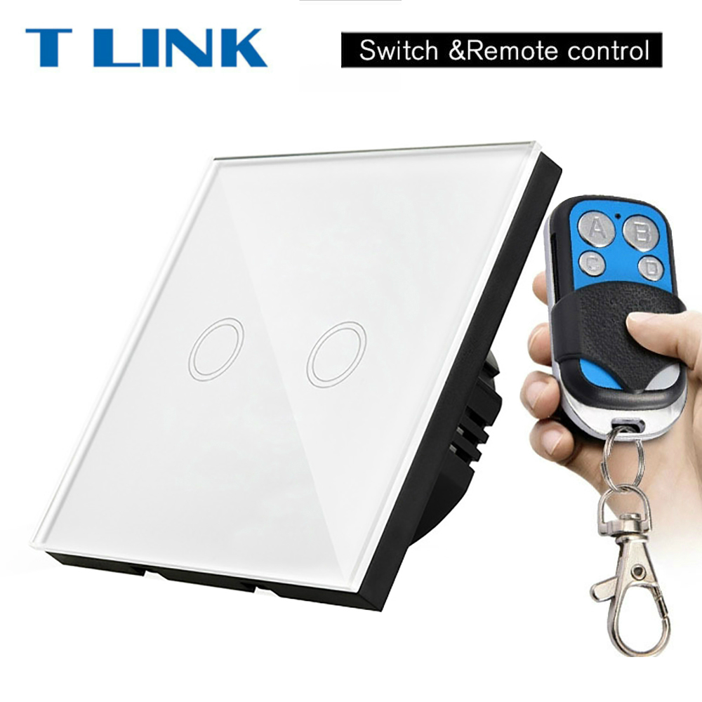 TLINK EU Standard Switch Smart Home 2 Gang Wall Light Led Touch Switch With Remote Control