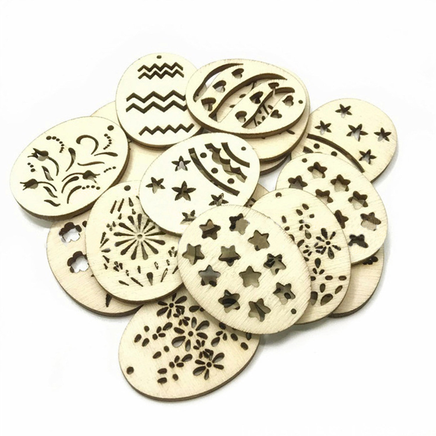 50PCS 40mm Fashion Hollow Out Easter Eggs Wooden Pendants Decor DIY Craft  Scrapbook DIY Wood Chips Easter Eggs Hanging Ornament