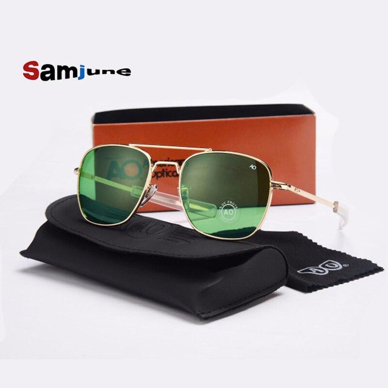 Fashion Aviation Sunglasses Men Brand Designer AO Sun Glasses For Male American Army Military Optical Glass Len Oculos with case