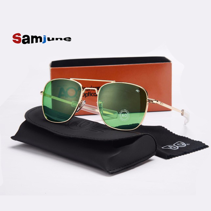 Fashion <font><b>Aviation</b></font> Sunglasses Men Brand Designer AO Sun Glasses For Male <font><b>American</b></font> Army Military <font><b>Optical</b></font> Glass Len Oculos with case image
