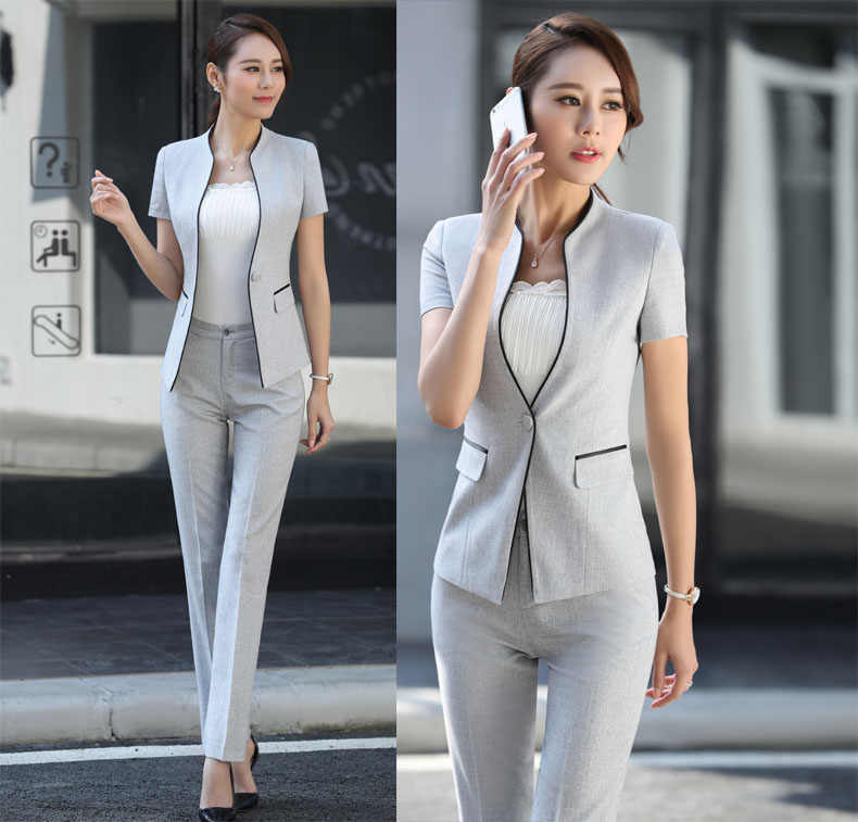 91b9663790586 ... 2017 Summer Formal Professional Business Women Suits With Jackets And Pants  Female Trousers Sets Summer Blazers ...