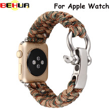Outdoors Sports Wrist Strap For Apple Watch Band 42mm 38mm Survival Rope Metal Bolt Clasp Wristband For Apple Watch 1st 2nd 3rd