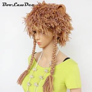 a31e760380e BooLawDee handmade warm beanie wig winter skull hat cap