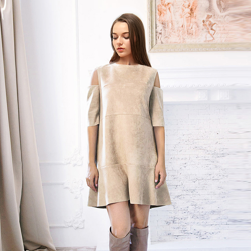 Summer Cold Shoulder Women Dress 2017 Elegant Ruffle Suede
