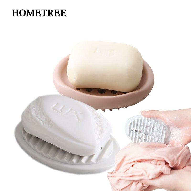 HOMETREE 1Pcs Silicone Soap Boxs Home Kitchen Sponge Rack Bathroom Soap Holder  Brush Drain Soap Dish Bathroom Accessories H48