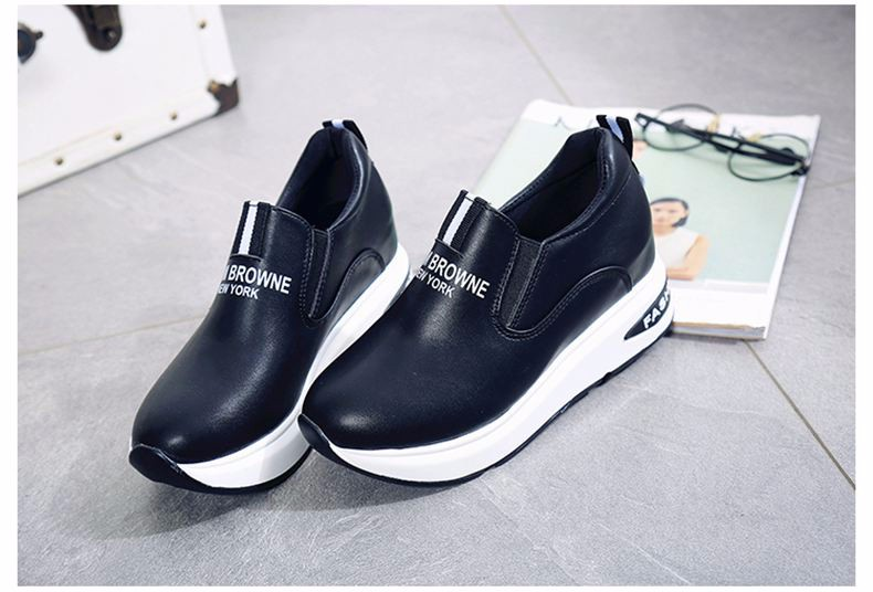 Shoes Women High Top Autumn Quality Leather Wedges Casual Shoes Height Increasing Slip On Ladies Shoes Trainers Size 35-39 YD139 (28)