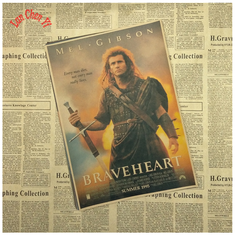 Vintage Nostalgic Braveheart Classic Movie Kraft Paper Poster Office wallpaper Home Decor Free Shipping