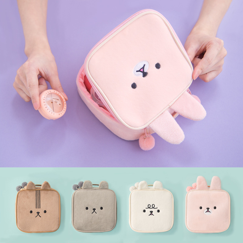 Bentoy Cute Rabbit Style Cosmetic Case Plush Makeup Bag Girl Wash Bag Cute Women Portable Bag toiletry Storage Travel Bags