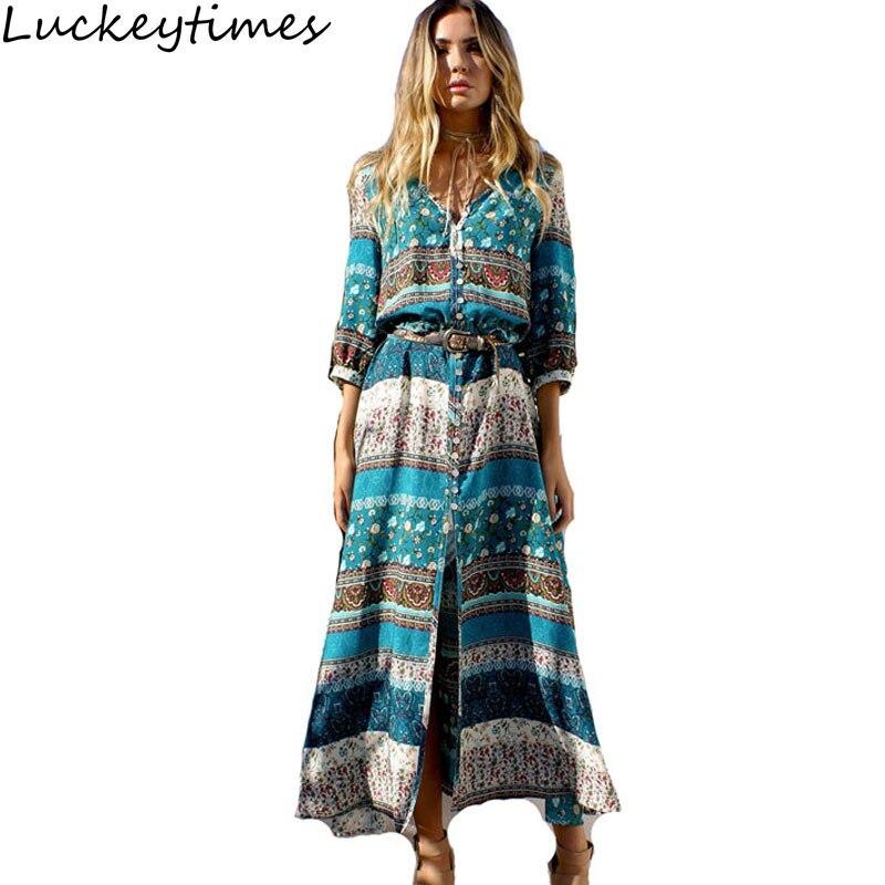 Luckeytimes Retro Bohemian Printing Dress Květinové Maxi Long Dress Beach Hippie Boho Šaty Ethnic Classic Vestidos