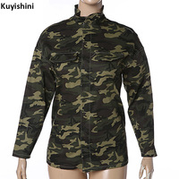 Unisex Spring Autumn Winter Women Men Stand Collar Army Green Camouflage Military Loose Blouse Basic Shirts