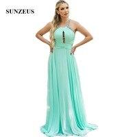 Зеленая мята шифон линии платья невесты Холтер Pleats блестки спинки нарядные платья для свадьбы Длинные платья SBD145