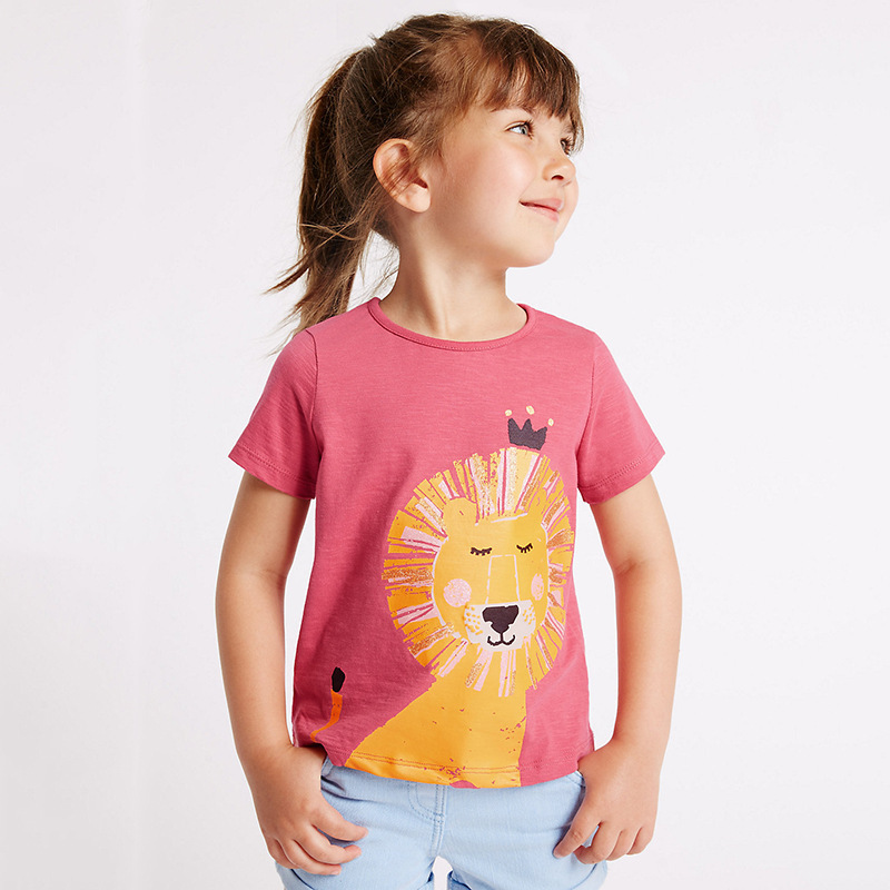 2018 Summer Tops Baby Kids Clothes Funny Tshirts Dog Lion Animals T Shirt For Girls Tees 2 3 4 5 6 Years Girls Children Clothing