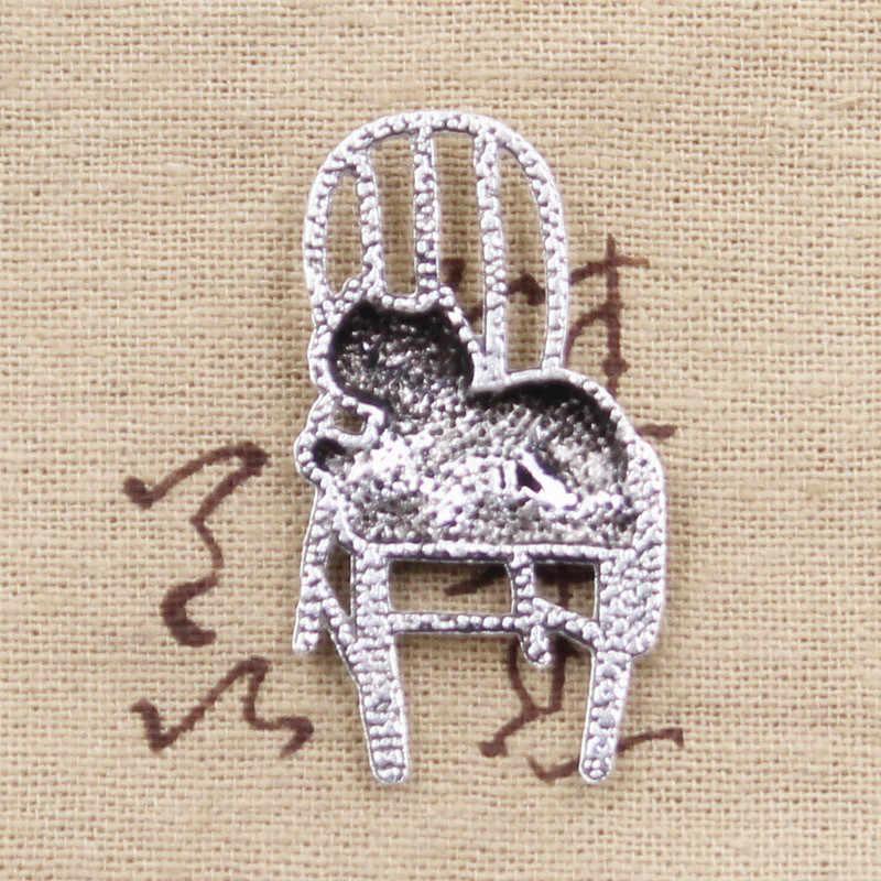 8 pcs Encantos gato preguiçoso deitado na cadeira 40x23 milímetros Antigo Banhado A Prata Pingentes Fazer DIY Handmade Tibetano jóias de prata