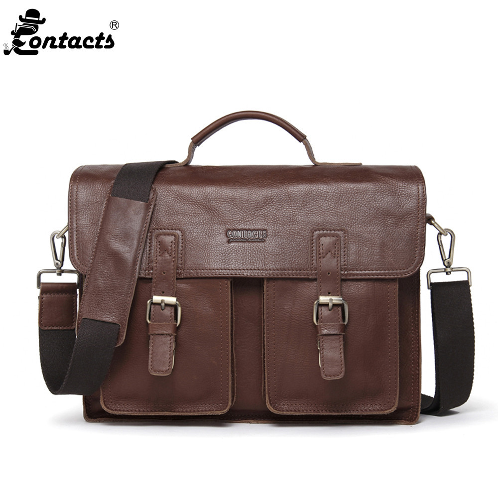 Contact's Men Handbag 14 Genuine Leather Document Briefcase Retro Man Casual Shoulder Bag Fashion Crossbody Bag for Computer portable genuine leather man briefcase economic document bag 7060309