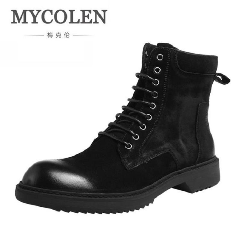 Mycolen британский стиль мужская кожаная обувь брендовые ботинки Martin Нескользящие Военная Униформа Ботильоны Роскошная модная мотоциклетная ... ...