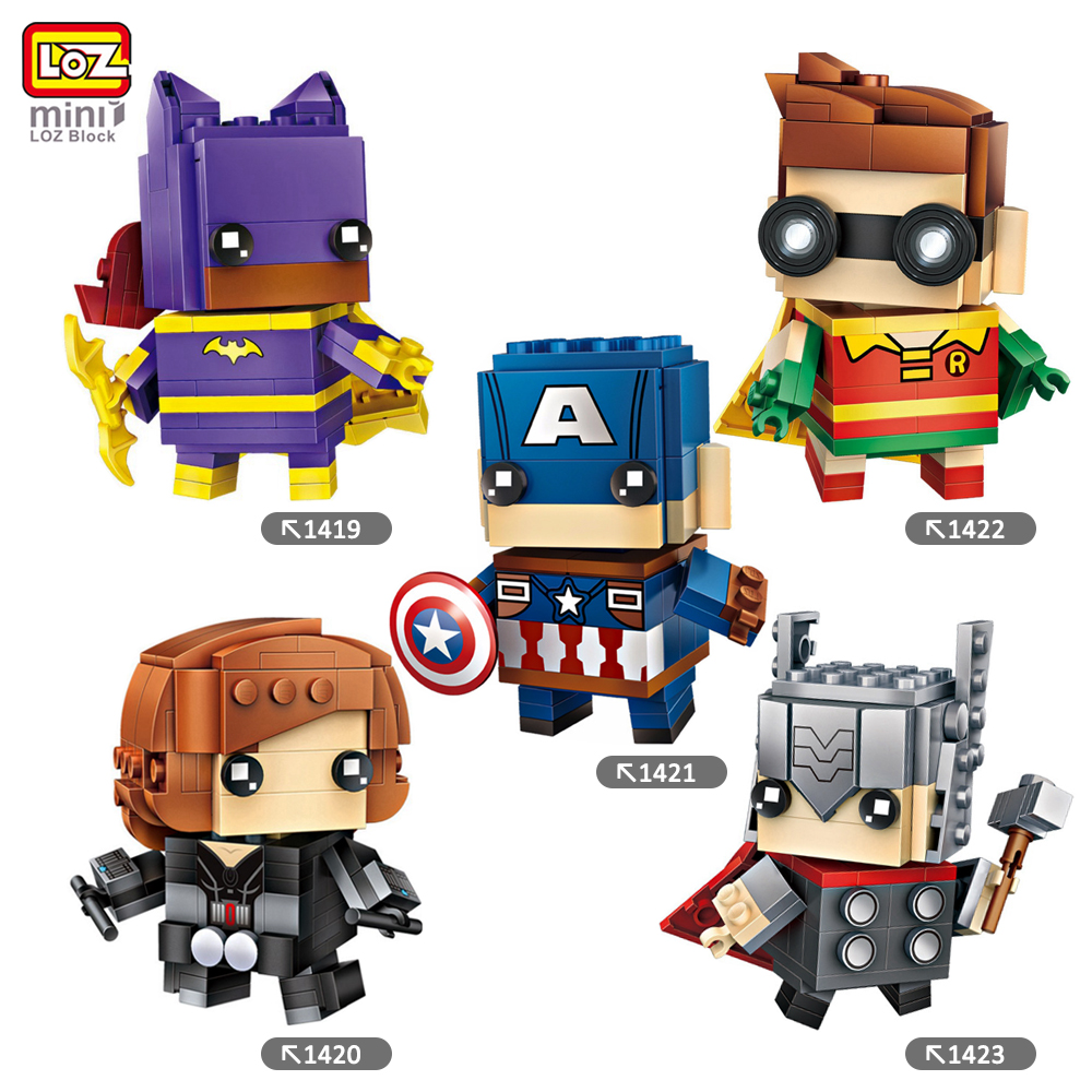 LOZ Mini Blocks Batman Robin Ironman Thor Loki Harley Quinn Poison Mini Super Hero Bricks DIY Building Blocks Toys Gift loz mini blocks batman robin ironman thor loki harley quinn poison mini super hero bricks diy building blocks toys gift