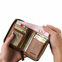 High Quality Vintage Waterproof men magic leather wallet Creative Large Capacity short card purse zipper coin pocket money clip