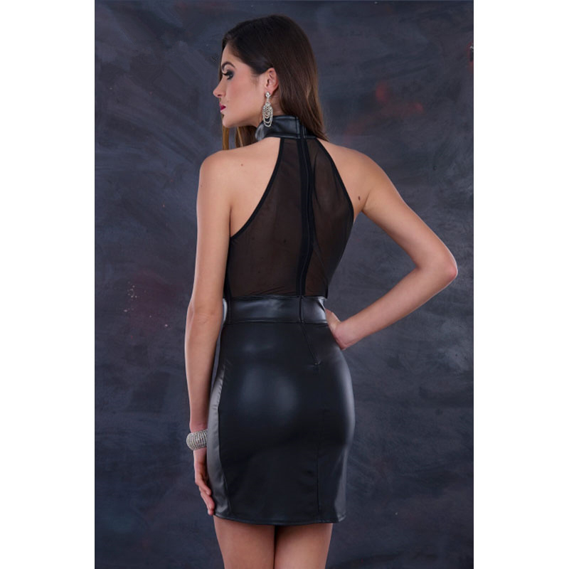 Sexy Off Shoulder Night Club Dress Plus Size 3XL Mesh Transparent Sleeveless Bandage Pole Dance Black Vinyl Leather Wrap Dress in Dresses from Women 39 s Clothing