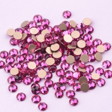 Zziell New 2088 Cut Fuchsia Dark Rose Glass Rhinestones 16 facets 8+8 Nail Art Non hotfix for Nails & Phone Case