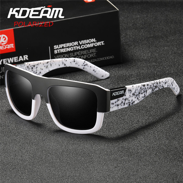afd6b29a4 Certificação CE KDEAM 2018 Homens óculos de Sol Do Esporte HD Polarizada  Óculos Das Mulheres Da Marca design Quadrado Revestimento Reflexivo KD03X