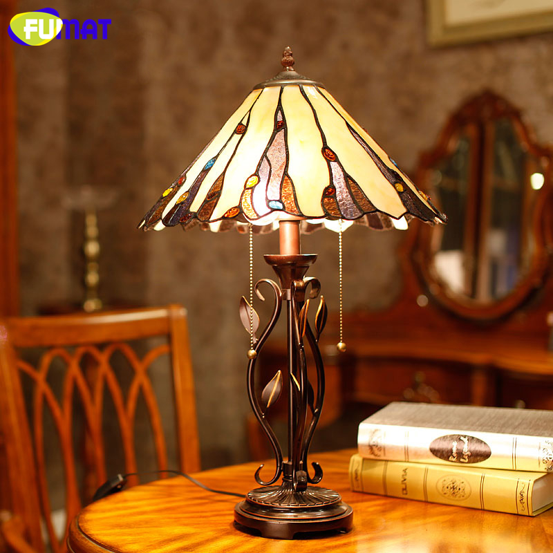 FUMAT Glass Table Lamps European Mission Style For Living Room Bedside Lamp Art Stained Glass Decor Stand Lamp Light Fixtures fumat stained glass table lamp bedside sakura lamp living room hotel bar art glass shade desk lamp bedside light fixtures