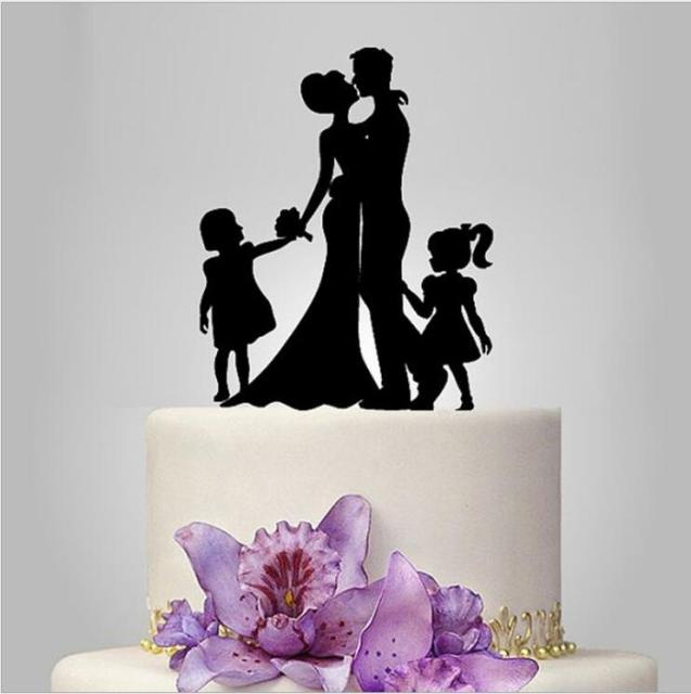 Family Wedding Cake Topper with Bride and Groom Silhouette with Two ...
