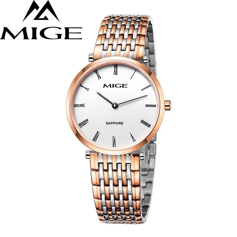Mige 2017 настоящий хит продаж Топ бренд Роскошные повседневные часы для влюбленных белый циферблат розовое золото мужские ультратонкие водон