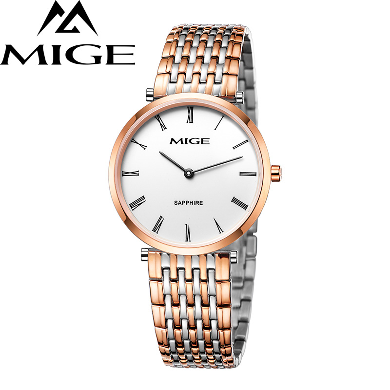 Mige 2017 Real Hot Sale Top Brand Luxury Casual Lover Watch White Dial Rose Gold Man Ultrathin Waterproof Quartz Mans Watches mige 2017 top fashion time limited sale sport watch white steel watchband saphire dial waterproof case quartz man wristwatches