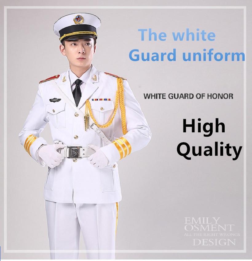 Mâle et femelle blanc garde hornist art costumes cérémonie de lever Du Drapeau costume Uniforme Militaire-Garde Costume Armée batteur vêtements