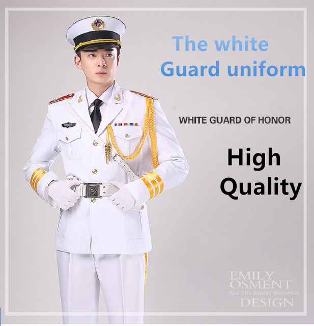 Male and female white guard hornist art costumes Flag raising ceremony suit Military Uniform-Guard Suit Army drummer clothing
