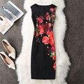 Las Nuevas 2017 Mujeres Atractivas Elegantes Vestidos de Verano Mujeres O cuello rojo impresión de la rosa vestidos de la envoltura atractiva dress vestidos de fiesta vestidos