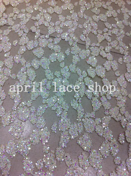 shining colorful white mesh flower glitter  lace  shining sequin  fabric for wedding dress design/party dress! 5 Yards/lot