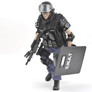 12 inch Los Angeles USA super police Action figures 1/6 scale SWAT POINT-MAN with shield Rifle gun suit weapon model doll toys