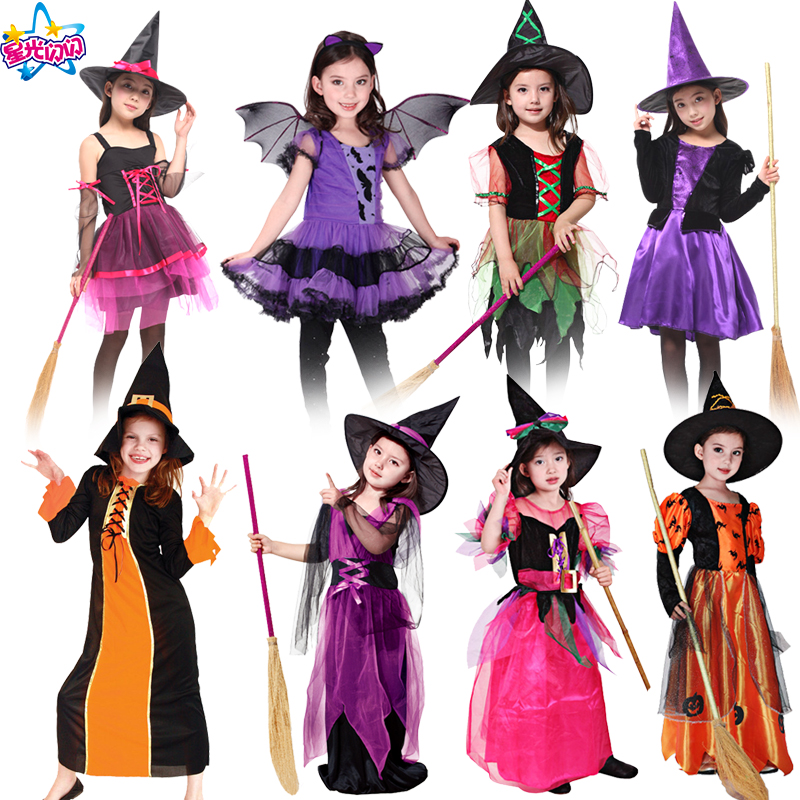 NoEnName Witch Costume For Girls Role Play Cosplay Performance Dance Show Holiday/holiday Costumes For Kids Vampire Witch Dress