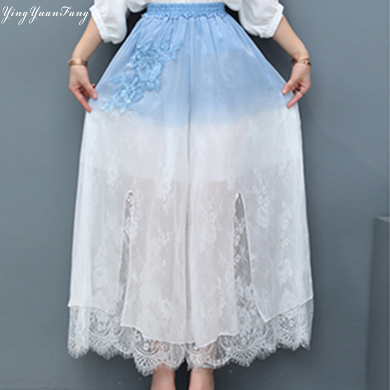 YingYuanFang Fashion Women's new retro blue and white gradient ultra-loose wide leg pants