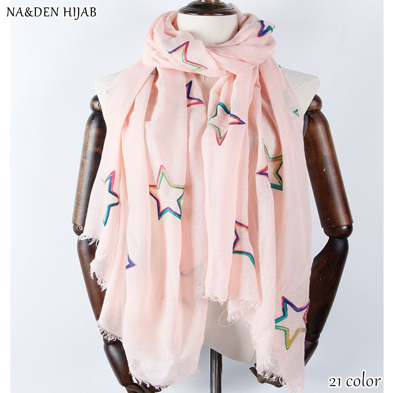 NEW fashion women embroidery cotton hijab scarf flower petal scarves and shawls floral brand wrap soft muffler islamic hijabs