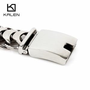 Image 4 - Kalen 새로운 높은 광택 된 반짝이 팔찌 스테인레스 스틸 자전거 링크 체인 자전거 체인 팔찌 패션 남성 액세서리 2018