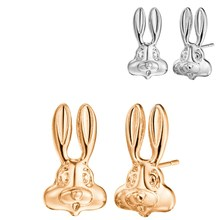 1 Pair New Silver Color Cute Bunny Rabbit Face Stud Earrings Wedding Jewelry Lovely Animal Gold Color Earrings Baby Gift(China)