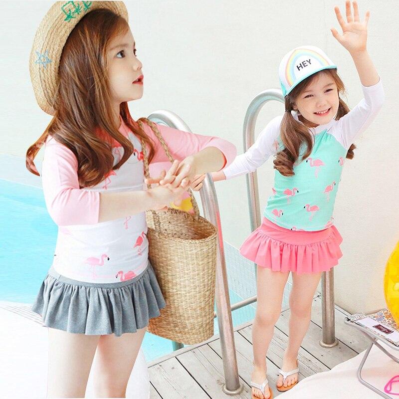 New-Flamingo-Summer-Girls-Swimwear-Pink-White-3-Pc-Sweet-Swimsit-Sunscreen-Swimming-Suit-Children-Bathing